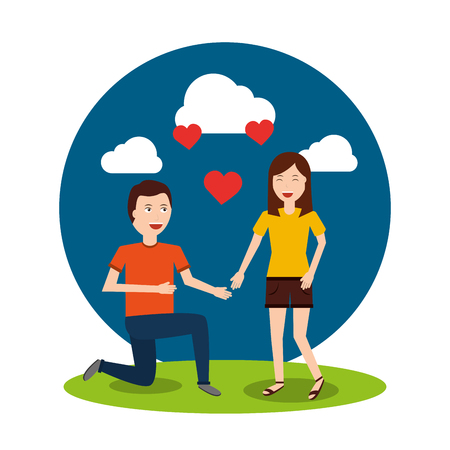 Happy man on his knee proposal woman valentines day vector illustration.