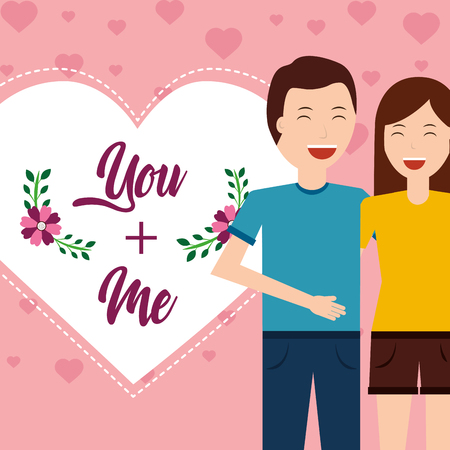 Valentine day couple love heart greeting card vector illustration. Vectores