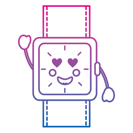 watch with heart eyes kawaii icon image vector illustration design