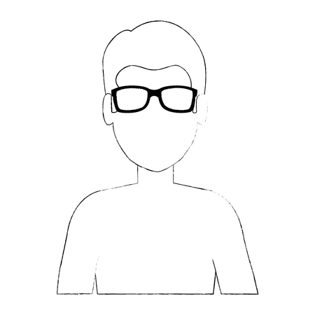 Young man shirtless character. Vector illustration design.