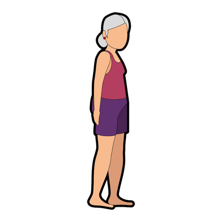 Old lady in beach outfit vector illustration design