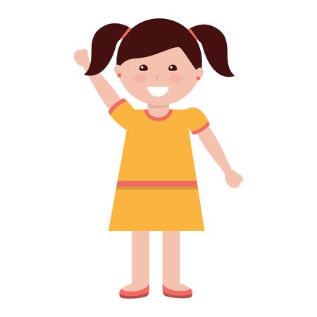 ピグテールを持つ幸せな女の子子供の子供のアイコン画像ベクトルイラストデザイン  イラスト・ベクター素材