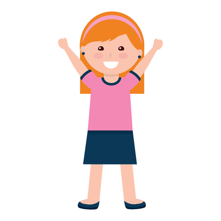 happy girl with headband kid child icon image vector illustration design