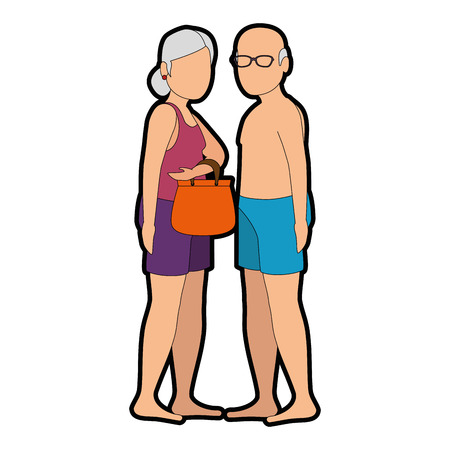 해변 복장 벡터 일러스트 레이 션 디자인에 조부모