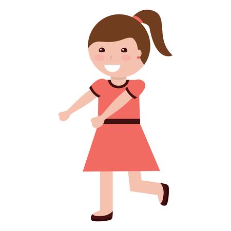 gelukkig meisje met paardenstaart kind kind pictogram afbeelding vector illustratie ontwerp