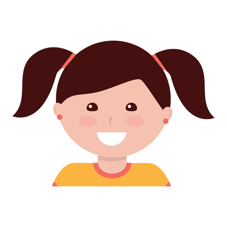 happy girl with pigtails kid child icon image vector illustration design