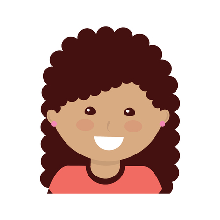 Happy girl with curly hair kid child icon image vector illustration design