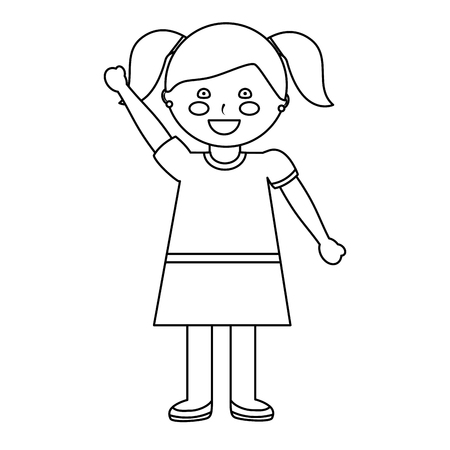 happy girl with pigtails kid child icon image vector illustration design  black line