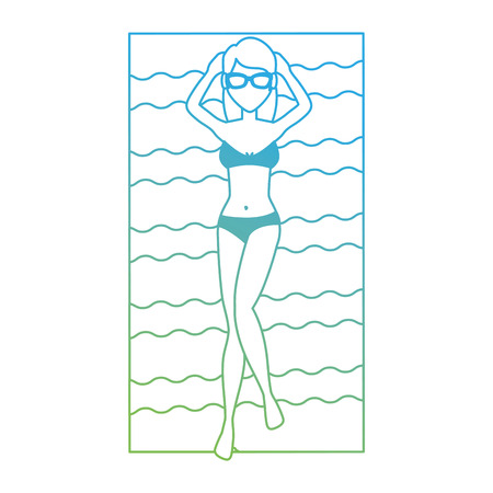young woman tanning in towel character vector illustration design