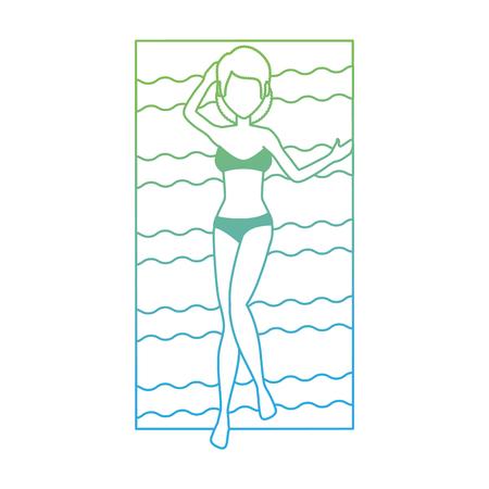 Jeune femme bronzage dans le caractère de serviette illustration vectorielle design Banque d'images - 94213848