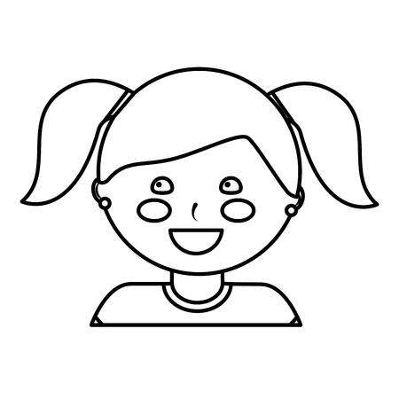 ピグテールを持つ幸せな女の子子供の子供のアイコン画像画像ベクトルイラストデザイン黒線