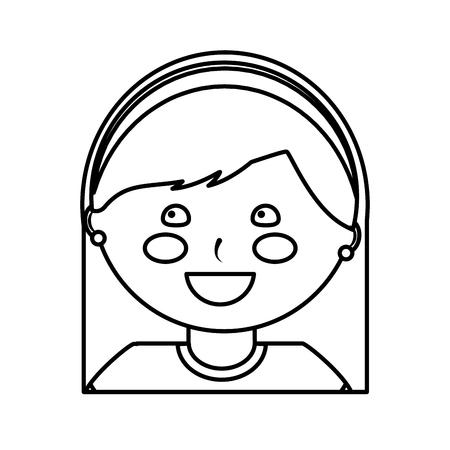 ヘッドバンド子供の子供のアイコン画像画像ベクトルイラストデザイン黒線で幸せな女の子