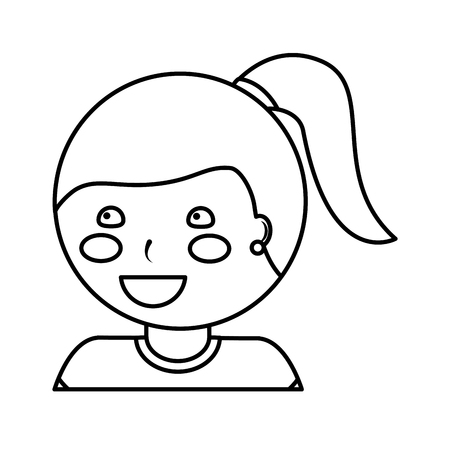 happy girl with ponytail kid child icon image vector illustration design  black line