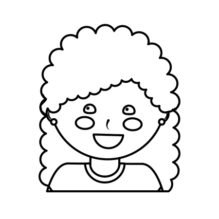 happy girl with curly hair kid child icon image vector illustration design  black line