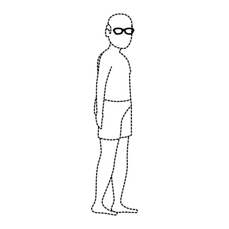 Homem velho em design de ilustração de vetor de roupa de praia Foto de archivo - 94213900
