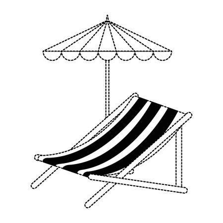 Strandstoel met ontwerp van de paraplu het vectorillustratie, Stock Illustratie