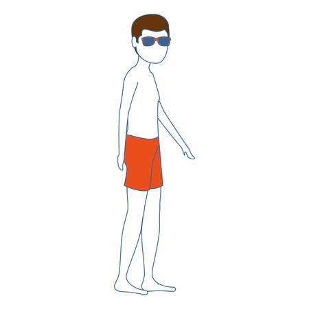젊은 남자 수영복 문자 벡터 일러스트 디자인 일러스트