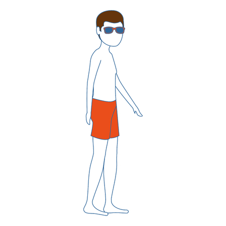 young man in swimsuit character vector illustration design