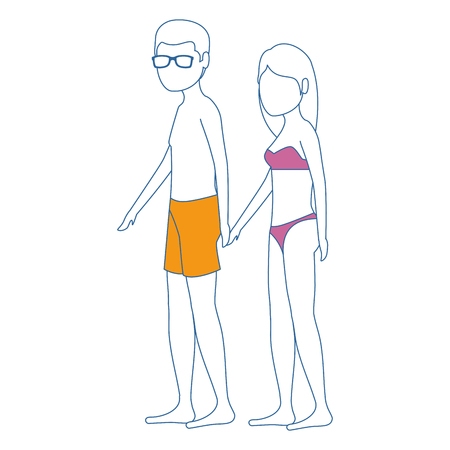 young couple in swimsuit characters vector illustration design Illustration