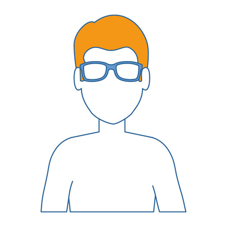 young man shirtless character vector illustration design