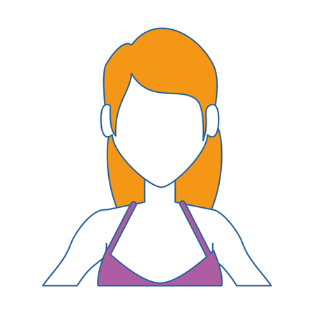 young woman in swimsuit vector illustration design