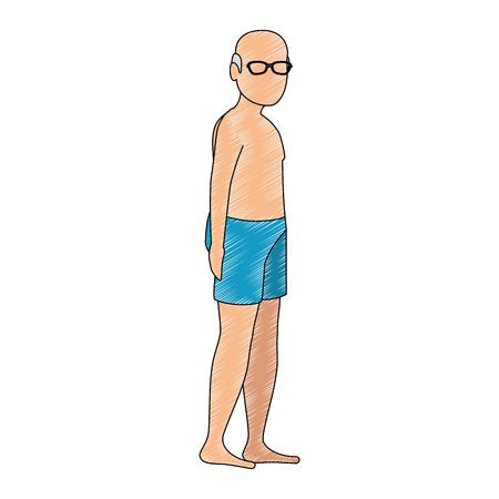 old man in beach outfit vector illustration design