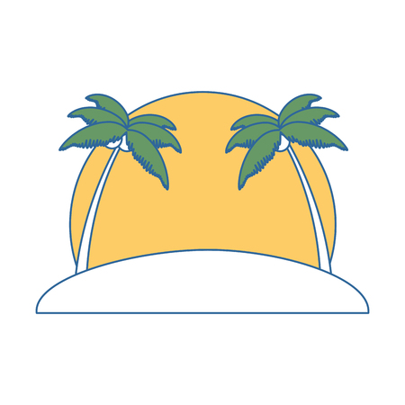beach with palms scene vector illustration design Banco de Imagens - 94212326