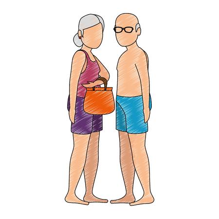 Grandparents in beach outfit vector illustration design Illusztráció
