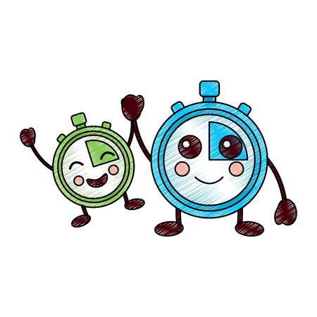 cartoon chronometer countdown speed timer object vector illustration drawing design