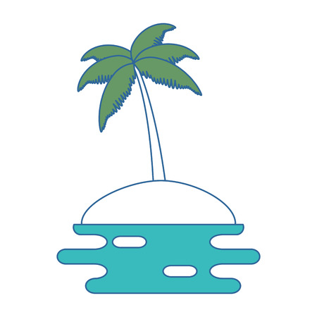 beach with palms scene vector illustration design