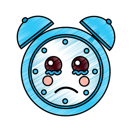 cartoon clock alarm character vector illustration drawing design