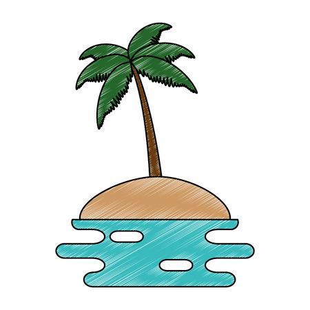 beach with palms scene vector illustration design