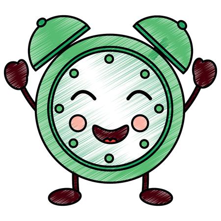 cartoon clock alarm character vector illustration drawing design