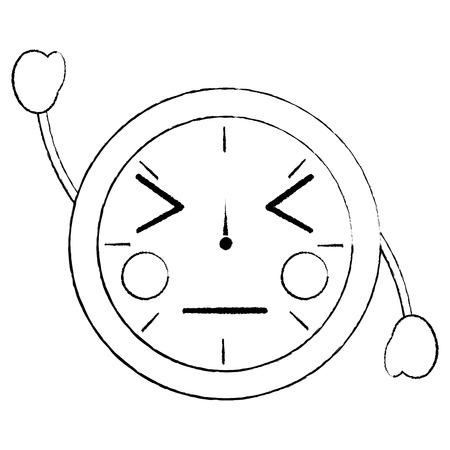 ronde klok tijd cartoon karakter vector illustratie schets ontwerp schets ontwerp