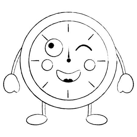 Ronde klok tijd cartoon karakter vector illustratie schets ontwerp schets ontwerp Stockfoto - 94215951