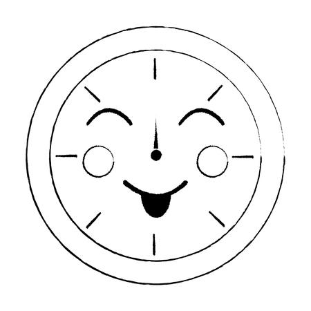 ラウンドクロックタイム漫画キャラクターベクトルイラストアウトラインデザインスケッチデザイン  イラスト・ベクター素材