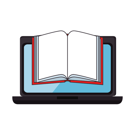 laptop computer with textbook vector illustration design