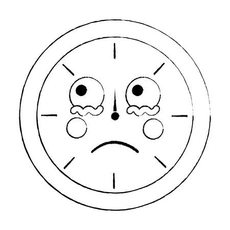 round clock time cartoon character vector illustration outline design sketch design Stock Illustratie