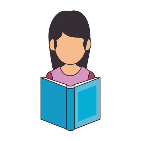 teacher woman with textbook avatar vector illustration design