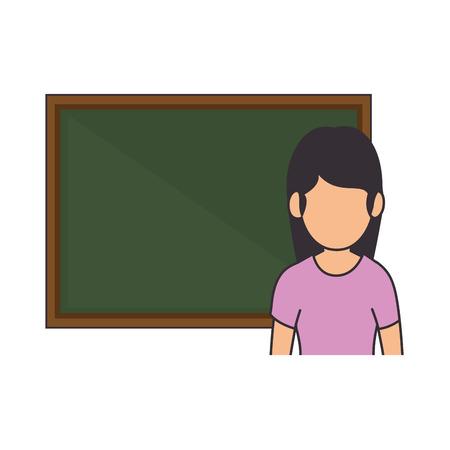 黒板アバターベクトルイラストデザインの教師女性