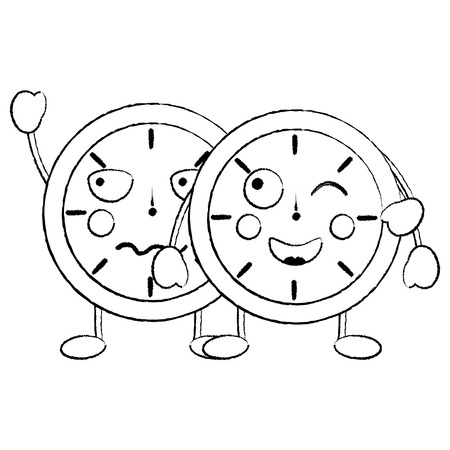 two  clock character cartoon style vector illustration sketch design