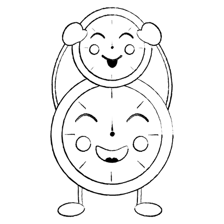 two   clock character cartoon style vector illustration sketch design Иллюстрация