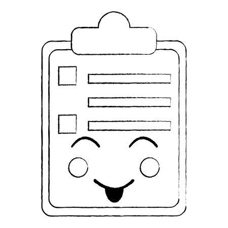 paper sad clipboard character cartoon vector illustration sketch design