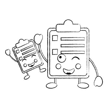 twee klembord zakelijke document cartoon vector illustratie schetsontwerp Stock Illustratie