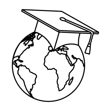 earth planet with hat graduation vector illustration design Çizim