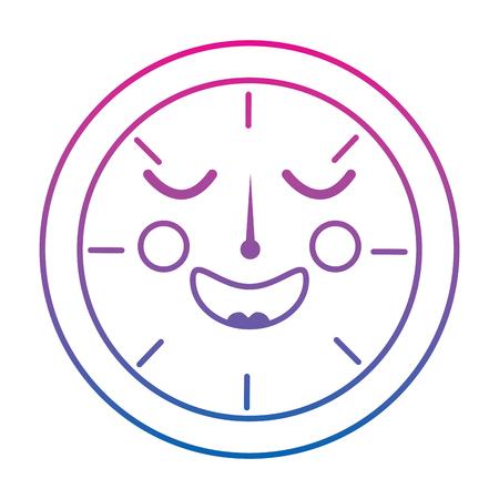 happy clock  icon image vector illustration design purple to blue ombre line Ilustração