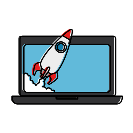 Laptop computer with rocket launcher. Vector illustration design.
