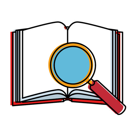 Text book with magnifying glass. Vector illustration design. Illustration