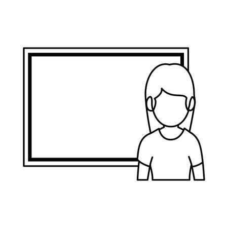 teacher woman with chalkboard avatar vector illustration design 向量圖像