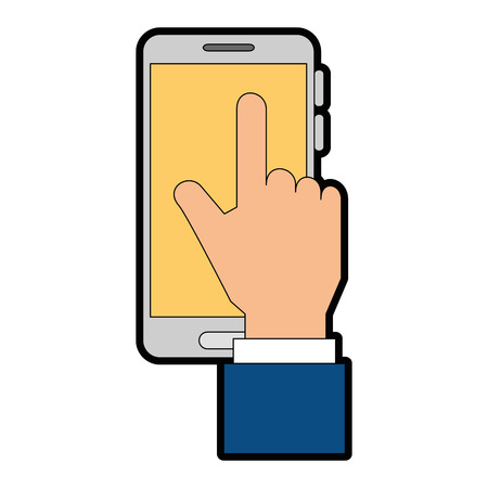 smartphone device with hand touching vector illustration design